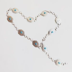 Western Turquoise Accent Silver Belt Chain